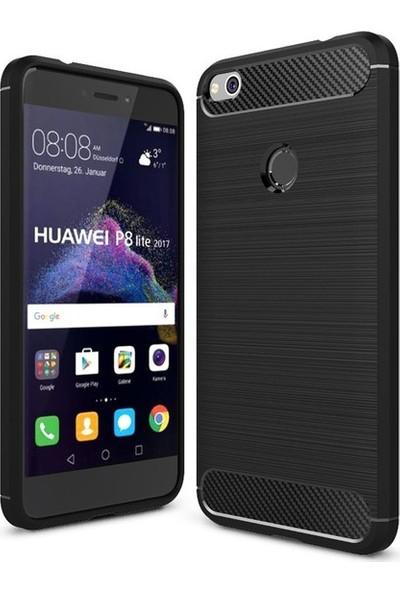 Kılıfist Huawei P9 Lite 2017 Karbon Fiber Room Silikon Kapak Kılıf Siyah + Temperli Cam