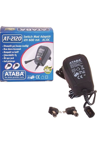 Ataba At-2120 12V-600 Mah Çift Jack'Lı Adaptör