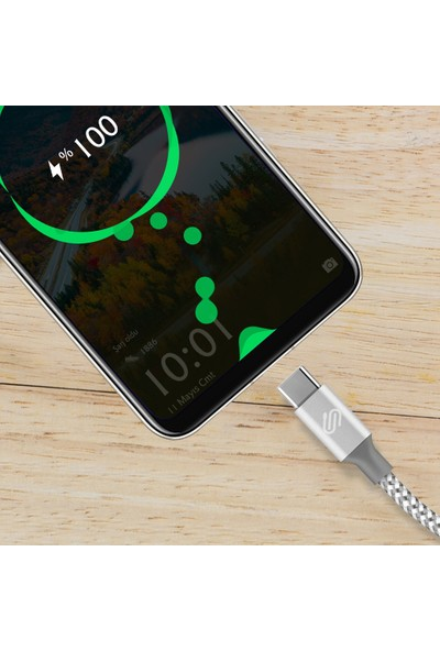Qwerts USB Type-C Hızlı Şarj ve Data Kablosu Örgülü Gümüş/beyaz 1 mt
