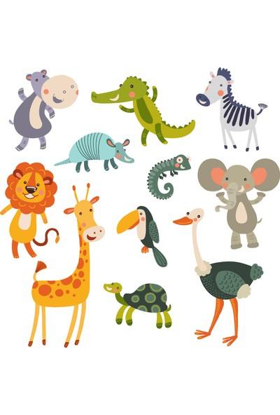 Areksan Reklam - Sticker Sepetim Sevimli Orman Hayvanları Çocuk Odası Duvar Sticker 1