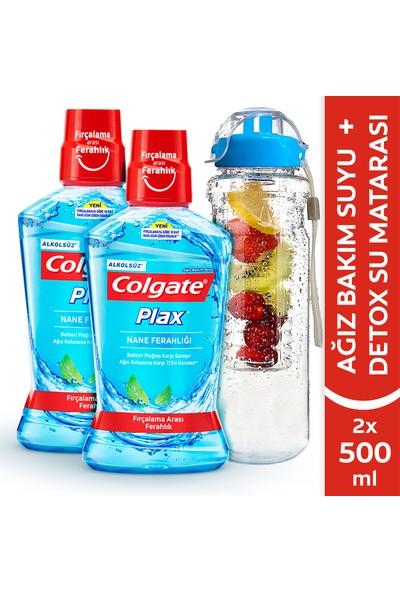 Colgate Plax Nane Ferahlığı Alkolsüz Gargara 500 ml x 2 Adet Detoks + Matara