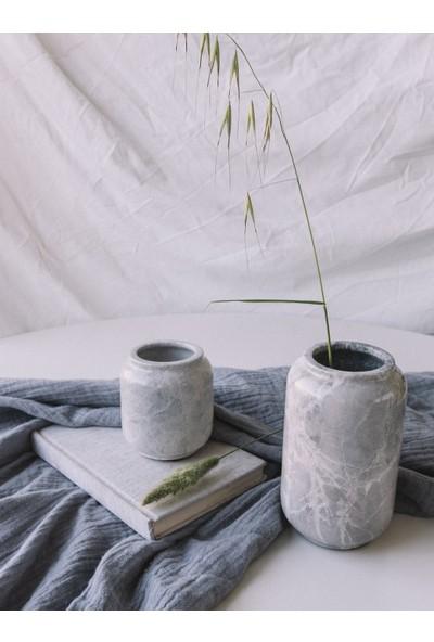 Gri Mermer Dekoratif Vazo