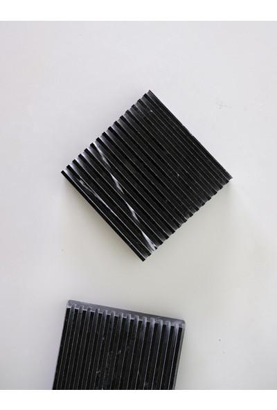 Siyah Mermer Dekoratif Bardak Altlığı