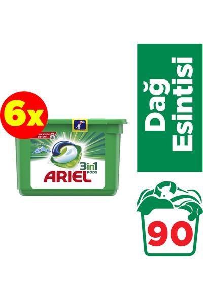 Ariel Pods 6 x 15 Yıkama (90 Yıkama) Sıvı Çamaşır Deterjanı Kapsülü Dağ Esintisi Beyazlar İçin