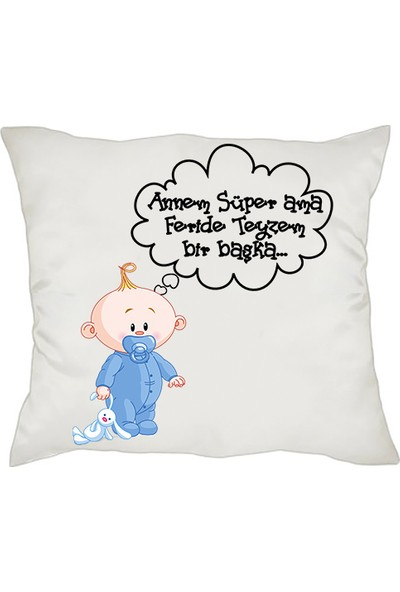 Biresimden Yeni Doğan Hediyesi Mesajlı Erkek Bebek Yastık