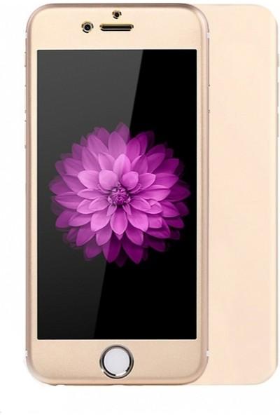 Dafoni iPhone 6 / 6S Tempered Glass Premium Gold Ön + Arka Metal Kavisli Ekran Koruyucu