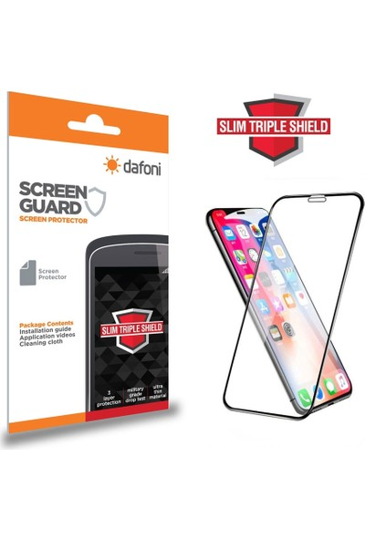 Dafoni iPhone XR Curve Slim Triple Shield Siyah Ekran Koruyucu