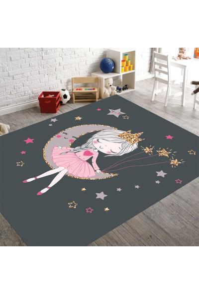 Veronya Ayda Kız Desenli Antibakteriyel Kaymaz Taban Çocuk Odası Halısı 140 x 200 cm