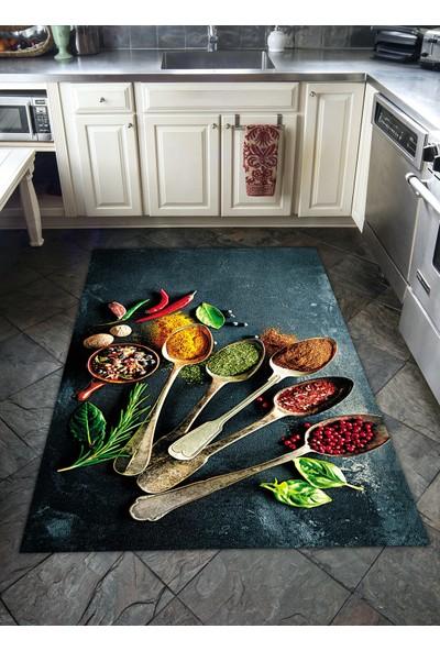 Veronya Kaşık Desenli Kaymaz Taban Mutfak Halısı 60 x 100 cm