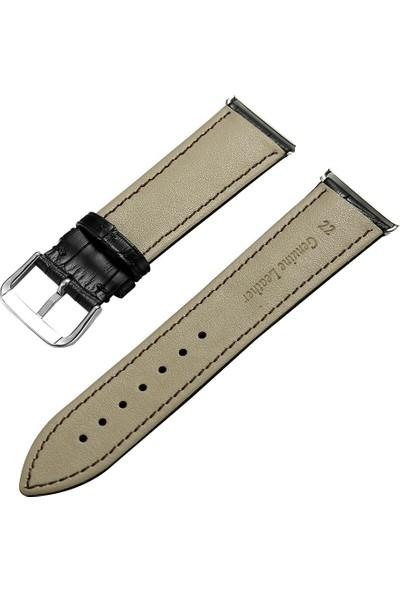 Erdem Saat Takı Hakiki Deri Kordon Siyah Saat Kordon Kayış Kordon 22 Mm