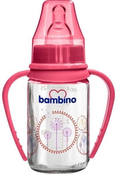 Bambino Cam Kulplu Biberon 125 ml Kırmızı Karahindiba