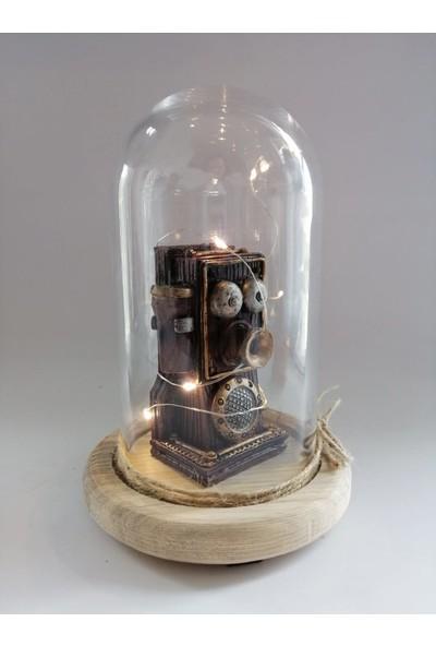 Hediye Fikri Dekoratif Nostaljik Telefon Tasarımlı Işıklı Cam Fanus