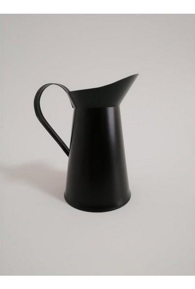 Tuğra Ferforje İtalyan Vazo Parlak Si̇yah Renk 20 cm