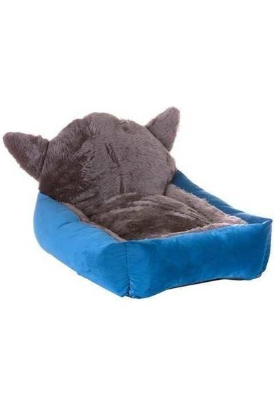 Lion Kedi Başlı Kedi Köpek Yatağı Mavi