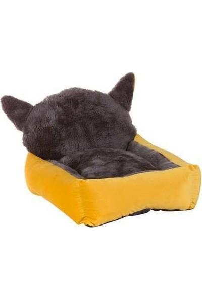 Lion Kedi Başlı Kedi Köpek Yatağı Sarı