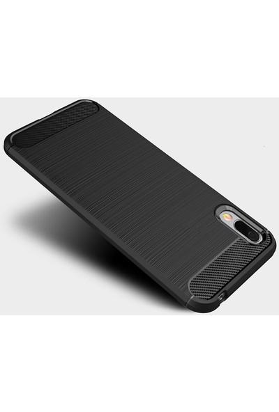 Microcase Huawei Y6 Pro 2019 - Honor Play 8A Brushed Carbon Fiber Silikon Kılıf - Siyah