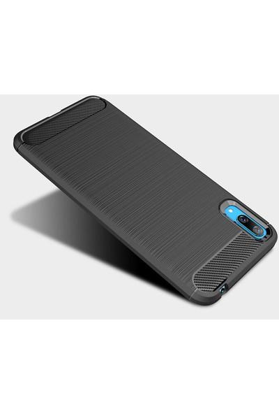 Microcase Huawei Y7 Pro 2019 Brushed Carbon Fiber Silikon Kılıf - Siyah
