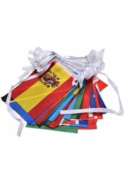 Bayrakal Yabancı Ülke Bayrağı Dizili - Kumaş 100 Adet