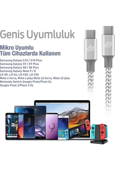 Qspeed USB Type-C Hızlı Şarj ve Data Kablosu Örgülü Gümüş/Beyaz 1 m 4'lü