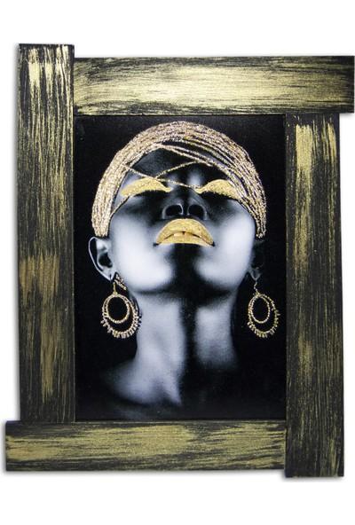 Halk Kitabevi Afrikalı Siyahi Kadın ve Altın Takılar Kanvas Tablo