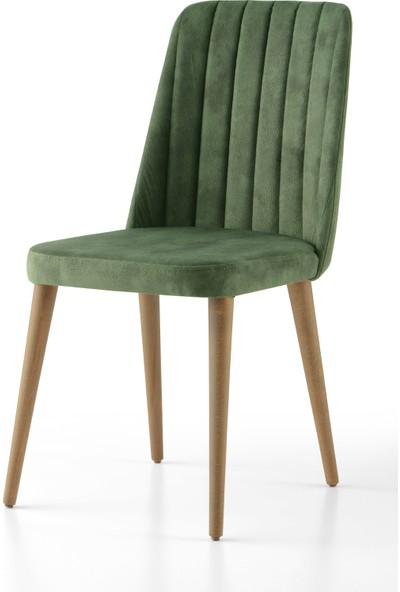 Evistro Kumaş Berjer Sandalye Salon Sandalyesi Ahşap Ayaklı 1 Adet Yeşil