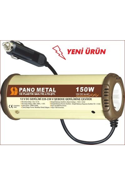 Pano Metal Çakmaktan 12 Volt 220 Volt 150 Watt USB'li İnverter Dönüştürücü