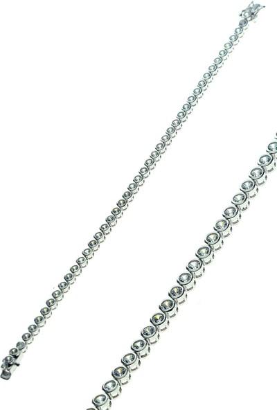 Söğütlü Silver Zirkon Taşlı Sıvama Modeli Su Yolu Bileklik