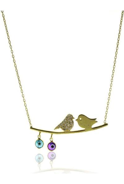 Söğütlü Silver Daldaki Kuşlar Altın Yaldız Gümüş Kolye