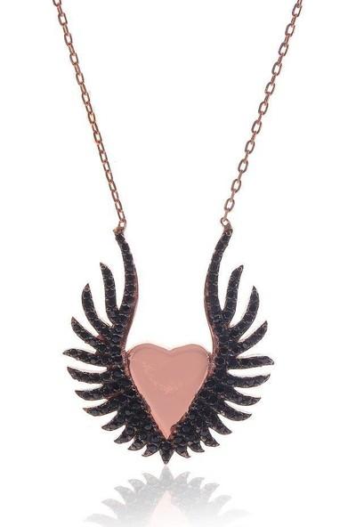 Söğütlü Silver Onix Taşlı Kanatlı Kalbim Kolye