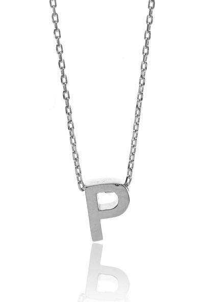 Söğütlü Silver ENT-SGTL8589 Gümüş Üç Boyutlu P Harfi Kolye