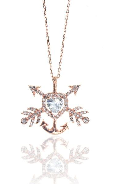 Söğütlü Silver Gümüş Kalpli Çapa Ok Kolye