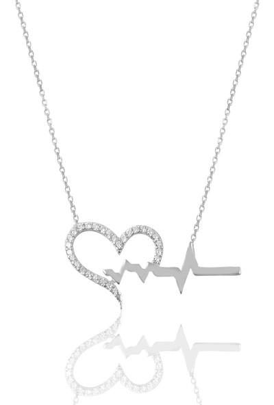 Söğütlü Silver Gümüş Kalp Ritmi Kolye