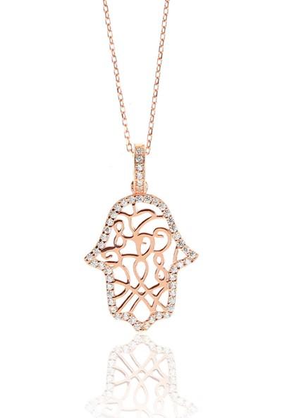 Söğütlü Silver ENT-SGTL9306 Gümüş Rose Zirkon Taşlı Fatma Ana Eli Kolye