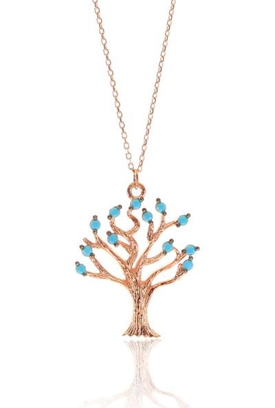 Söğütlü Silver Gümüş Rose Turkuaz Taşlı Hayat Ağacı Kolye