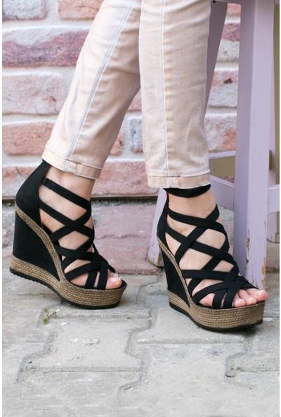 Fox Shoes Siyah Kadın Dolgu Topuklu Ayakkabı 9674070102