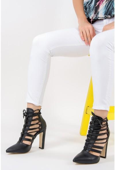 Fox Shoes Siyah Kadın Topuklu Ayakkabı F281201609