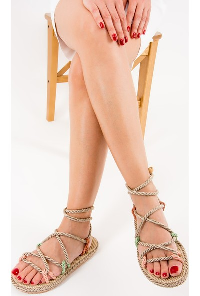 Fox Shoes PudraYeşil Kadın Sandalet F838242204
