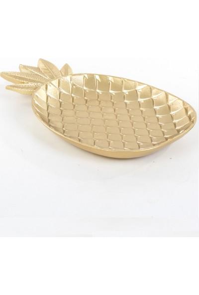 Roll-up Dekoratif Ahşap Altın Ananas Şekilli Tabak 35 x 21 cm 1 Adet