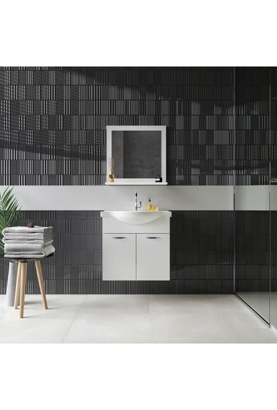 Banos Sd Duvara Asılı Lavabolu Banyo Dolabı ve Raflı Ayna 65 cm Beyaz