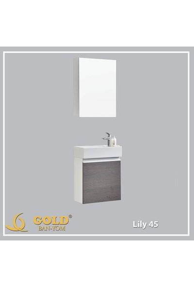 Gold Ban-Yom Lily 45 cm Banyo Dolabı + Ayna Ünitesi + Seramik Lavabo