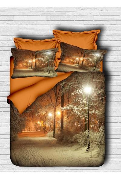 Özinci 3D Gece Kar ve Ağaçlar Temalı Çift Kişilk Nevresim Takımı