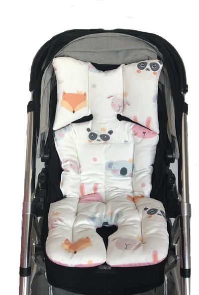 Pamuk Atölyesi Sevimli Yüzler ve Pembe Yıldızlı Bebek Arabası Minderi