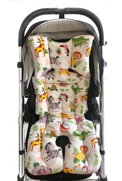 Pamuk Atölyesi Beyaz Orman ve Sarı Hardal Yıldızlı Bebek Arabası Minderi