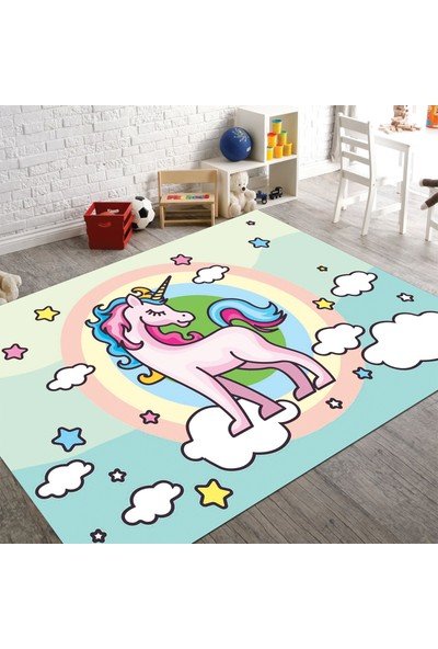Veronya Unicorn Desenli Kaymaz Taban Çocuk Odası Halısı 180 x 280 cm