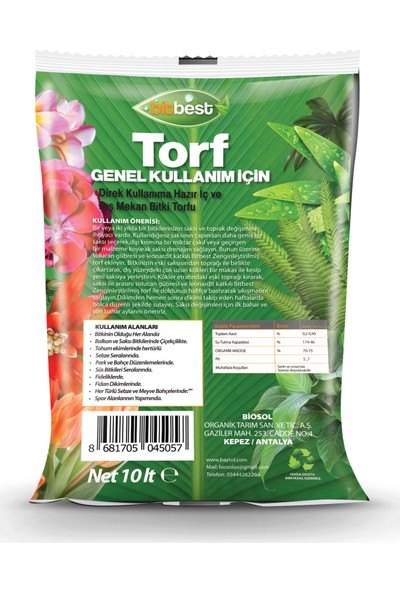 Bitbest Bio 4'lü 40 lt Gübreli Bitki ve Saksı Toprağı Torf U