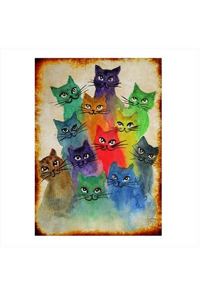 Tablomega Ahşap Tablo Renki Kediler