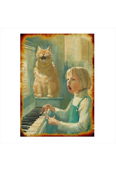 Tablomega Ahşap Tablo Piyano Çalan Çocuk ve Kedi