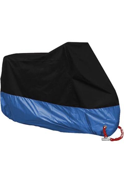 Autoen Premium Kymco Venox 250 Arka Çanta Uyumlu Motosiklet Brandası Siyah-Mavi