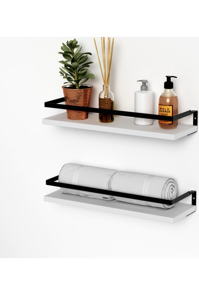 Banos Rt3 Metal Çerçeveli Baharatlık Çok Amaçlı Banyo ve Mutfak Duvar Rafı, Beyaz