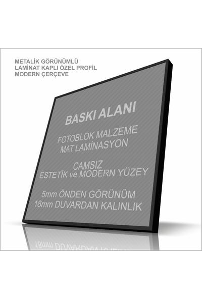 Stüdyo Neo Kedi - Modern Çerçeveli Duvar Tablosu - Metalik Görünümlü Ahşap Estetik Çerçeveli
